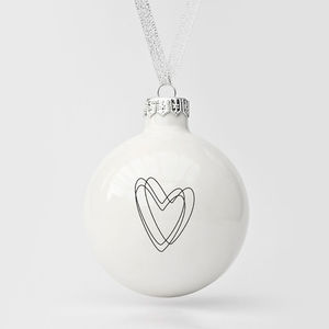 Big Christmas Bauble With Heart - tree decorations