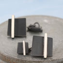 Black Square Chain Cufflinks