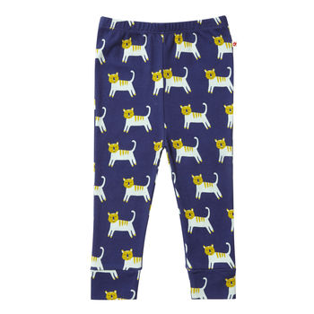 Unisex Navy Blue Tiger Themed Baby And Kids Leggings