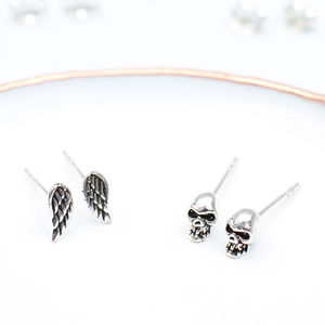 Sterling Silver Tiny Skulls Or Wing Earrings