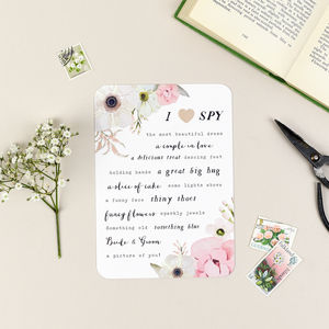 Set Of Five Blush Floral Wedding I Spy Games - wedding day activities