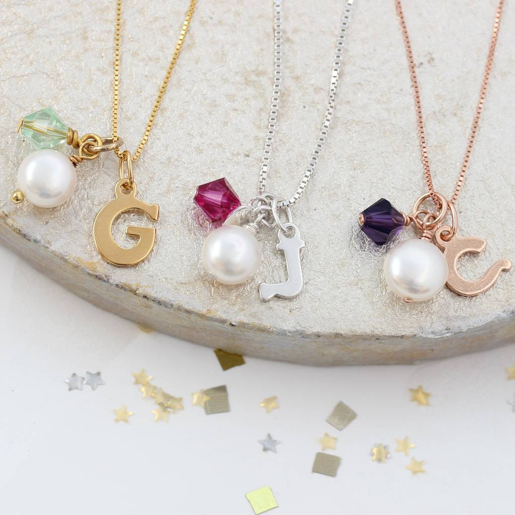 364e5e3665bca Letter Charm Necklace With Swarovski Crystal