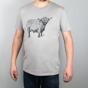 Men's Scottish 'Highland Coo' T Shirt – Stone