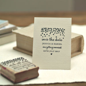 Save The Date Stamp Wedding Hearts Design - stickers & stamps