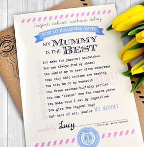 Personalised Best Mummy Certificate