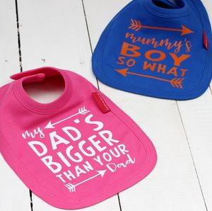 My Dad's Bigger And Mummy's Boy Bib Set - first father's day