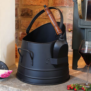 Black Country Style Coal Bucket Scuttle With Shovel - home sale