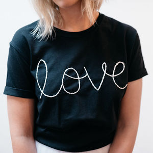 'Love' Chunky Chain Embroidered T Shirt - brand new partners
