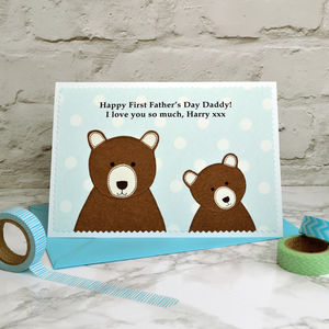 'Daddy Bear' Personalised First Father's Day Card - first father's day cards