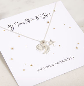 My Sun, Moon, Star Necklace In Sterling Silver