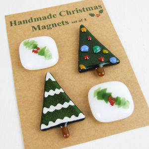 Set Of Handmade Glass Christmas Tree And Holly Magnets - snow globes & ornaments