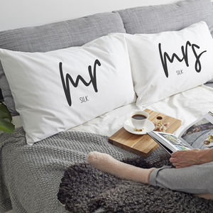 Personalised 'Mrs And Mr' Pillow Case - home sale