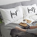 Personalised 'Mrs And Mr' Pillow Case