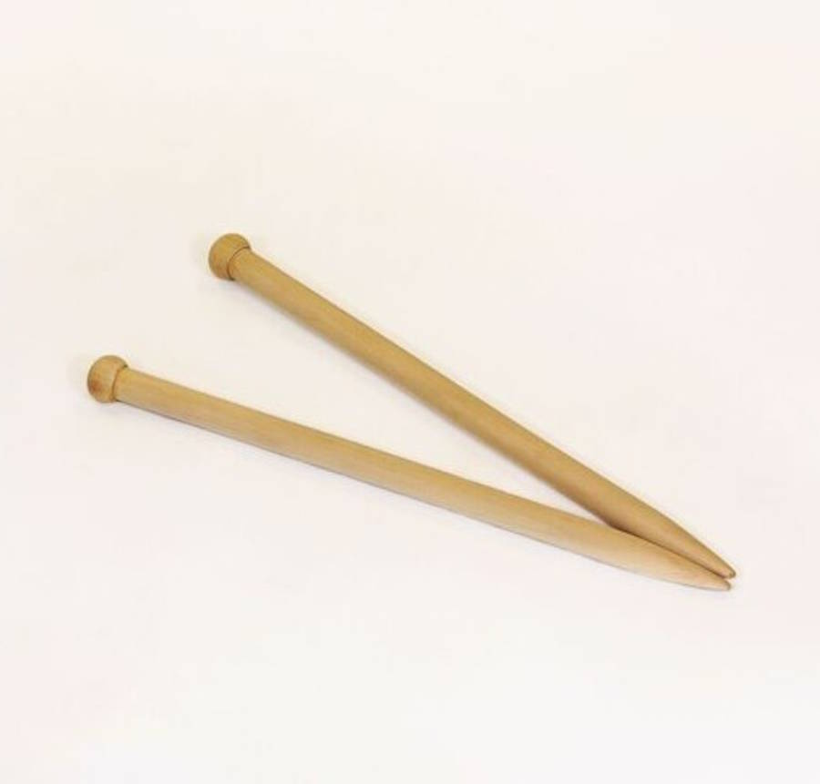 Wooden Knitting Needles : ... > WOOL COUTURE > GIANT 20MM WOODEN HANDCRAFTED KNITTING NEEDLES