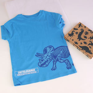 Child's Personalised Triceratops T Shirt In A Box