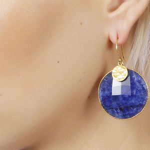 Vermeil Sapphire Corundum And Golden Nugget Earrings