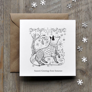 Colour In Fox Christmas Card