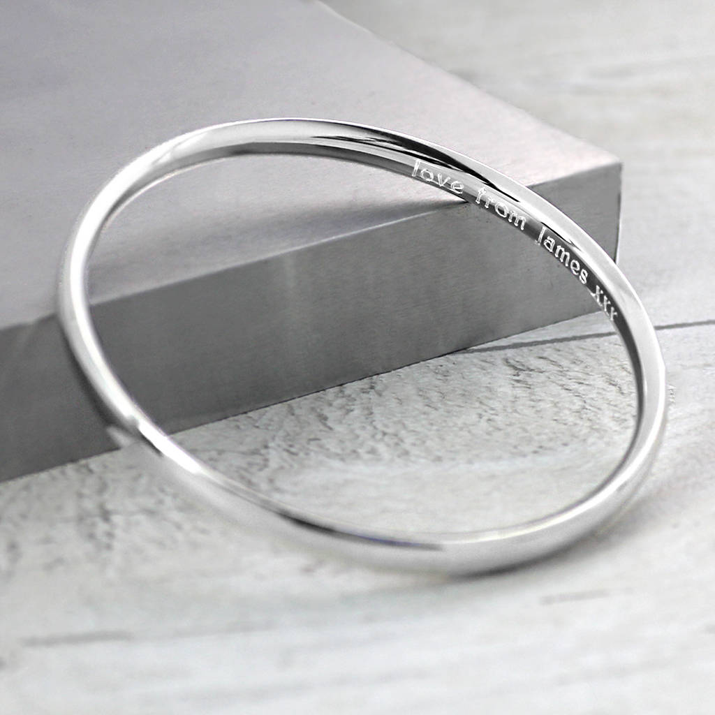 Personalised Chunky Sterling Silver Bangle
