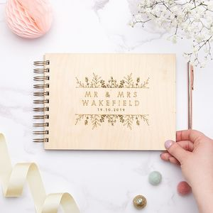 Wooden Botanical Wedding Guest Book - albums & guest books