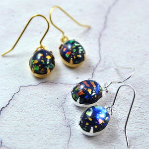 Black Fire Opal Earrings In Gold Or Silver - summer sale