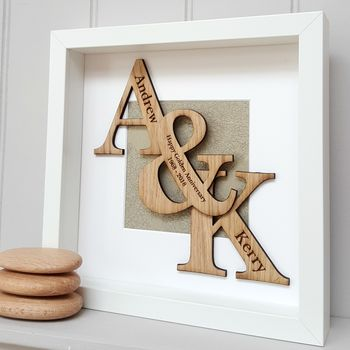 50th Golden Wedding Anniversary Oak Initials Artwork