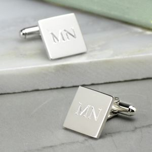 Personalised Square Silver Cufflinks - men's jewellery