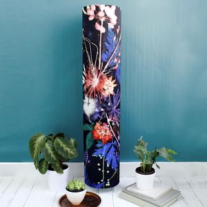 Deep Blue With Bright Botanicals Meter High Floor Lamp - lighting