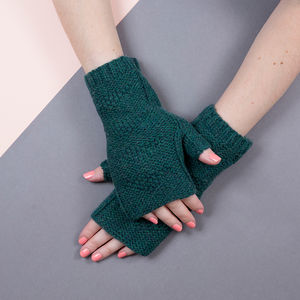 Cashmere Blend Fingerless Gloves In Forest Green - hats, scarves & gloves
