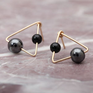 Triangle Stud Hematite Earrings - earrings