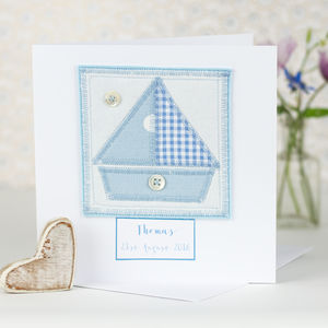 Personalised New Baby Appliquéd Boat Card