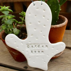 Porcelain Cactus Personalised Name Plaque