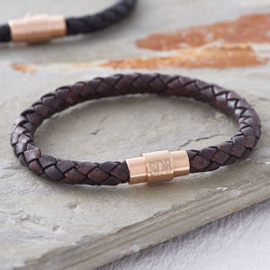 Men's Personalised Rose Gold Clasp Leather Bracelet - jewellery