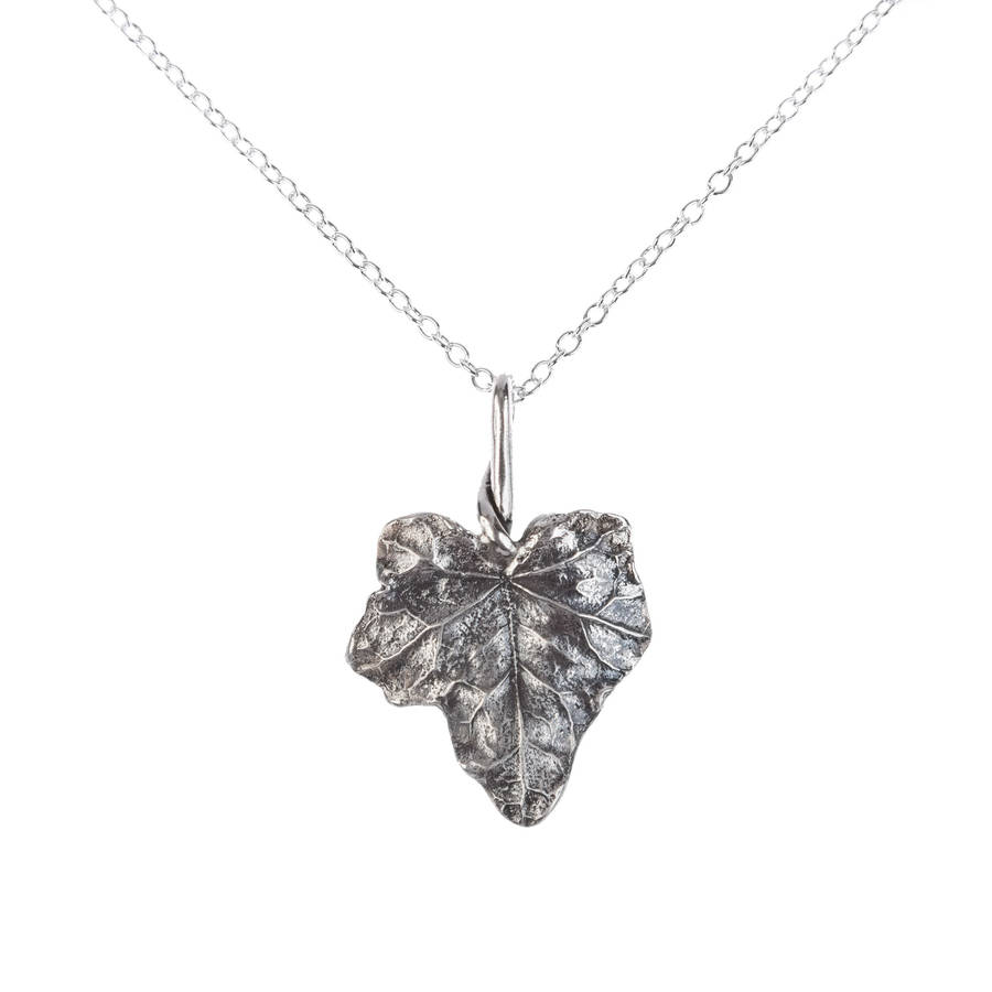 Silver ivy leaf pendant by love from england notonthehighstreet silver ivy leaf pendant mozeypictures Image collections