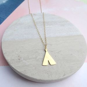 24k Gold Plated Teepee Necklace - necklaces & pendants