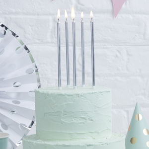 Silver Extra Tall Birthday Cake Candles - summer sale