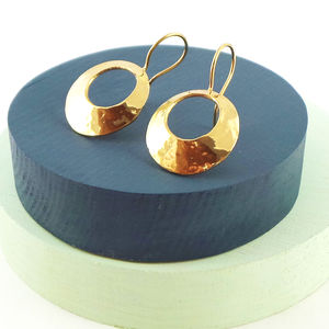 Gold Cutout Disc Drop Earrings