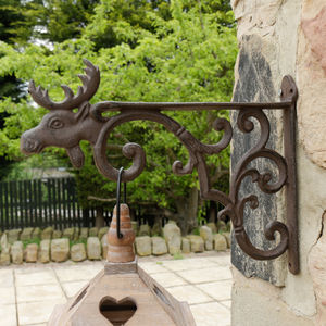 Cast Iron Moose Hanging Basket Bracket - art & decorations