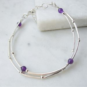 Amethyst And Sterling Silver Double Stranded Bracelet - new in womens jewellery