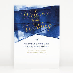 Navy And Gold 'Grace' Wedding Welcome Sign - room decorations