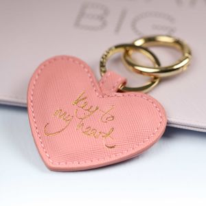 'Key To My Heart' Pink And Gold Keyring