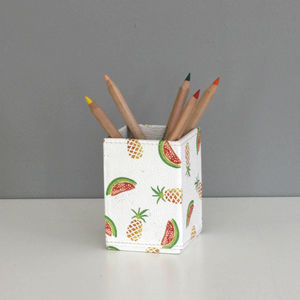 Recycled Pineapple And Watermelon Design Pen Pot