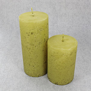Antique Yellow Pillar Candles - dining room