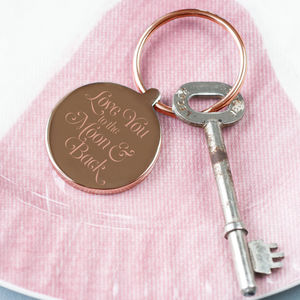 Rose Gold 'Moon And Back' Script Keyring - valentine's gifts for him