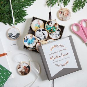 Personalised First Christmas Photograph Decorations Box