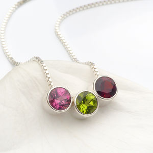 Birthstone Necklace In Sterling Silver - wedding thank you gifts