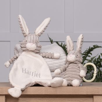 Personalised Cordy Roy Baby Hare Comforter And Toy Set
