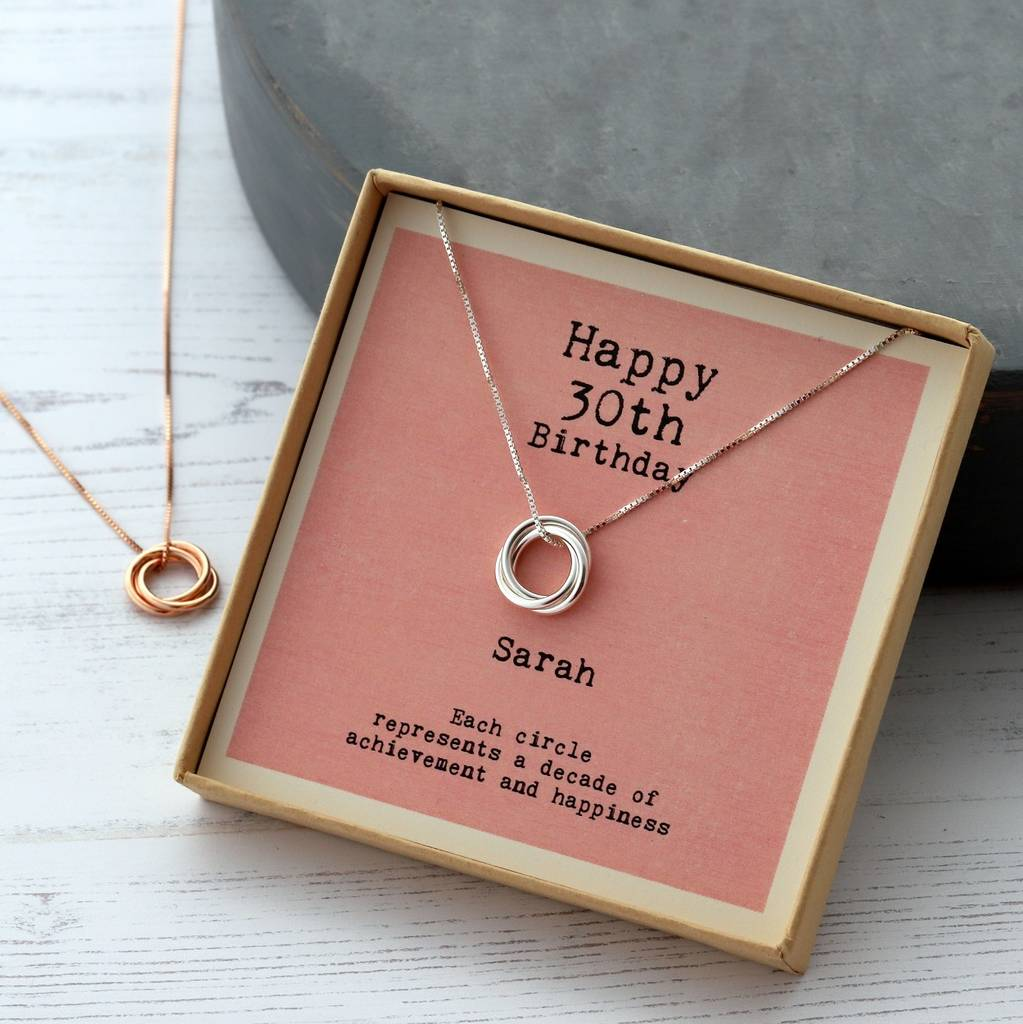 Sterling Silver Happy 30th Birthday Necklace by Attic