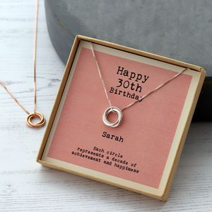 Sterling Silver Happy 30th Birthday Necklace - 30th birthday gifts