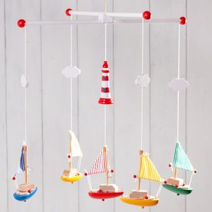 Wooden Sailing Boat Mobiles And Personalised Bag - mobiles