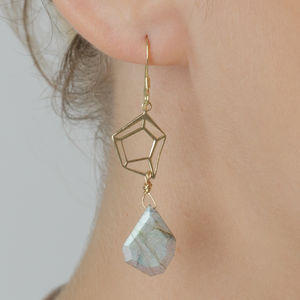 Geometric Labradorite Gemstone Drop Earrings - earrings